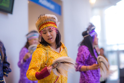 Members of a Dillingham high school Native dance ensemble perform during the 2012 Honorary Degree Recipients dinner during commencement weekend in the University of Alaska Museum of the North.  Filename: GRA-12-3409-125.jpg