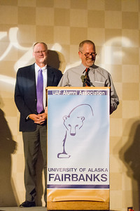 Robert Ritchie speaks before receiving the 2012 Alumni Achievement Award for Business and Professional Excellence at the Allumni Association's Rendezvous Dinner at the Westmark Ballroom.  Filename: DEV-12-3566-157.jpg