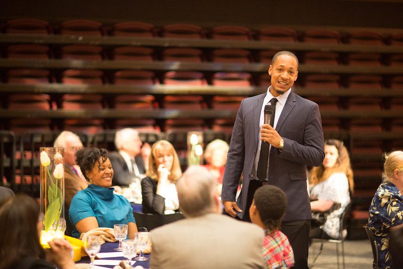 """Class speaker Joseph Slocum speaks to the 2016 Gold Banquet guests in the UA Museum of the North auditorium.  <div class=""""ss-paypal-button"""">Filename: GRA-16-4894-270.jpg</div><div class=""""ss-paypal-button-end""""></div>"""
