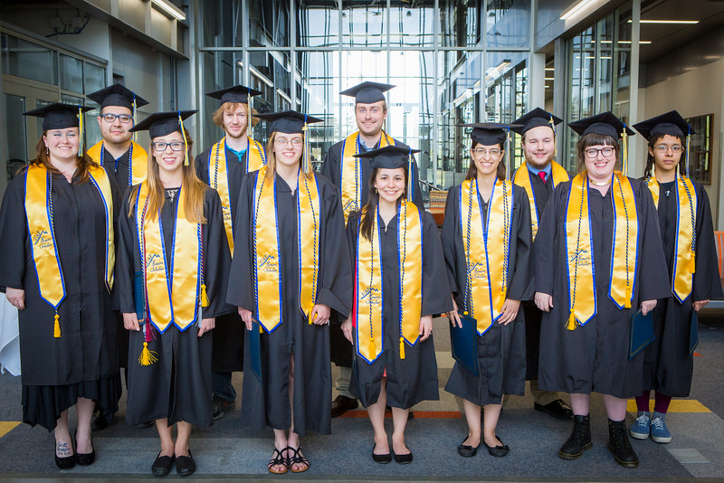 """UAF Honors Program graduates pose for a portrait after their 2016 commencement ceremony at Schaible Auditorium on the Fairbanks campus.  <div class=""""ss-paypal-button"""">Filename: GRA-16-4893-356.jpg</div><div class=""""ss-paypal-button-end""""></div>"""