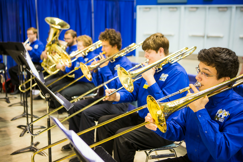 """The UAF Brass Choir performs several music ensembles for the audience before during the 2014 Commencement Ceremonies Sunday May 11, 2014, at the Carlson Center.  <div class=""""ss-paypal-button"""">Filename: GRA-14-4187-51.jpg</div><div class=""""ss-paypal-button-end""""></div>"""