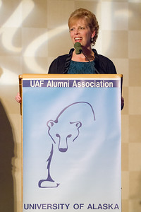 Marilyn Romano speaks during the Rendezvous dinner after receiving the Alumni Association's 2012 William R. Cashen Service award at the Westmark ballroom.  Filename: DEV-12-3566-138.jpg