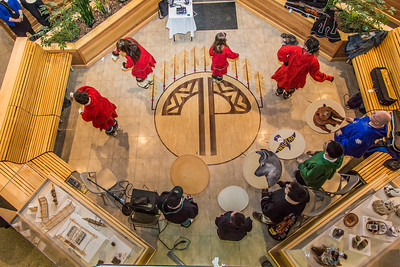 Members of the Pavva Inupiaq Dance Group perform during a gathering at the Doyon Building in downtown Fairbanks to help generate interest in the Troth Yeddha' development project at UAF.  Filename: DEV-14-4107-138.jpg