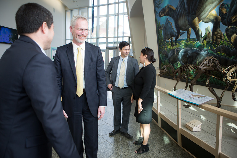 """UA President Jim Johnsen speaks to UAF Vice Chancellor Evon Peter during the Gold Banquet at the UA Museum of the North.  <div class=""""ss-paypal-button"""">Filename: GRA-16-4894-79.jpg</div><div class=""""ss-paypal-button-end""""></div>"""