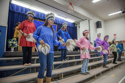 Members of a local high school Native dance ensemble perform during the 2012 commencement ceremony for UAF's Bristol Bay Campus in Dillingham.  Filename: GRA-12-3391-176.jpg