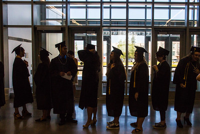 RAHI students form a line before the 2016 RAHI graduation ceremony at the Schaible Auditorium.  Filename: GRA-16-4932-27.jpg