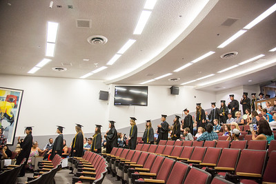 Students descend to their seats during the procession of the 2016 RAHI graduation ceremony at the Schaible Auditorium.  Filename: GRA-16-4932-46.jpg