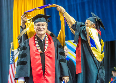 Elder statesman John Sackett was awarded an honorary doctor of laws degree.  Filename: GRA-13-3827-0899.jpg