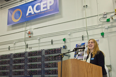 Director Gwen Holdmann  speaks at the ribbon-cutting ceremony for the Alaska Center for Energy and Power's new research facility on the Fairbanks campus.  Filename: DEV-12-3288-52.jpg