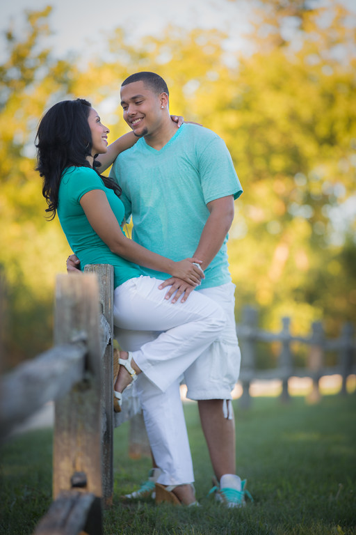 Two Hispanic Couple Engagement Picture at Countryside