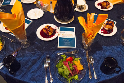 Tables were elegantly decorated with blue and gold at the 2012 Alumni Association's Nanook Rendezvous, Saturday, September 22, 2012 at the Westmark Ballroom.  Filename: DEV-12-3566-53.jpg