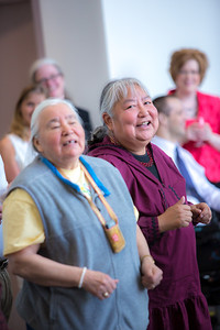 The Down River Singers from several Athabascan villages throughout Alaska's Interior, performed at the annual Gold Dinner for special guests at UAF's 2013 commencement.  Filename: GRA-13-3826-100.jpg