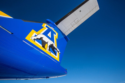 One of Alaska Airlines' newest aircraft is a Bombardier Q400 turboprop featuring the Alaska Nanooks and UAF.  Filename: DEV-14-4080-78.jpg
