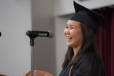 Valedictorian Aubrey Gosuk from Togiak delivers remarks to her fellow graduates at the 30th annual commencement ceremony of UAF's Rural Alaska Honors Institute July 11 in Schaible Auditorium on the Fairbanks campus.  Filename: GRA-12-3466-103.jpg