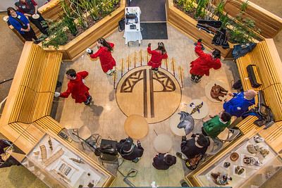 Members of the Pavva Inupiaq Dance Group perform during a gathering at the Doyon Building in downtown Fairbanks to help generate interest in the Troth Yeddha' development project at UAF.  Filename: DEV-14-4107-145.jpg
