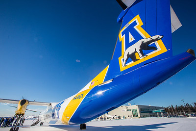 One of Alaska Airlines' newest aircraft is a Bombardier Q400 turboprop featuring the Alaska Nanooks and UAF.  Filename: DEV-14-4080-74.jpg
