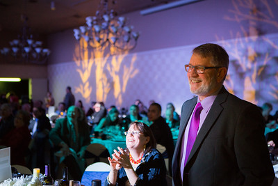 College of Liberal Arts Dean Todd Sherman is recognized at the 2014 Chancellors Gala at the Westmark Ballroom in downtown Fairbanks.  Filename: DEV-14-4063-278.jpg