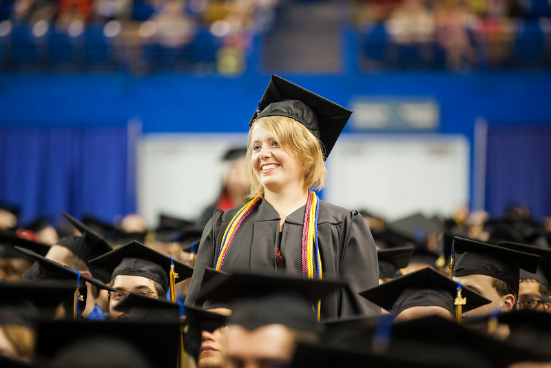 """Iris Fletcher stands among a few graduates to be recognized for her leadership during the 2014 UAF Commencement Ceremony at the Carlson Center.  <div class=""""ss-paypal-button"""">Filename: GRA-14-4187-271.jpg</div><div class=""""ss-paypal-button-end""""></div>"""
