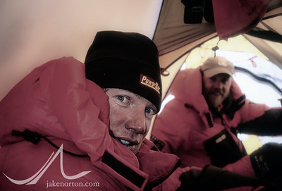 Tap Richards and Thom Pollard in their tent at 25,600 foot Camp V on the North Ridge of Mount Everest, Tibet.