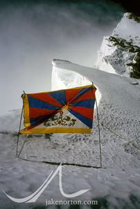 A Tibetan flag at Mushroom Rock on the Northeast Ridge of Mount Everest, Tibet.