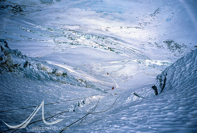 Looking down the North Col Headwall while fixing rope on Mount Everest, Tibet.