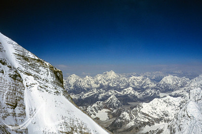 Dorje Lhakpa and peaks of the Nepal Himalaya as viewed from high on Mount Everest, Tibet.