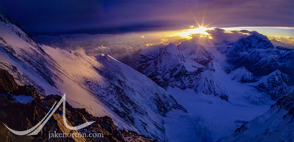 Sunset panorama shot from Camp V on the North Ridge of Mount Everest, Tibet.