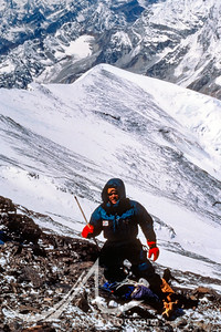 Jake Norton holding a wooden tent pole from the 1924 Camp VI at nearly 27,000 feet on the North Ridge of Mount Everest. Jake rediscovered the camp with teammate Brent Okita in April, 2001. It was last used by George Mallory and Andrew Irvine on the night of June 7, 1924.
