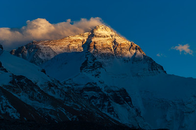 The North Face of Mount Everest at sunset from Rongbuk Basecamp, Tibet.