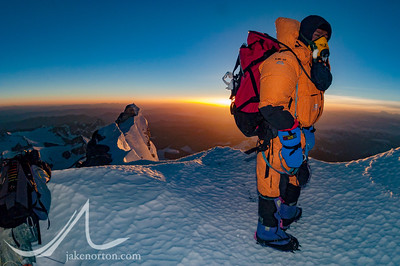 Phuru Sherpa at Mushroom Rock (28,300 feet) on Mount Everest's Northeast Ridge at sunrise on May 30, 2003.