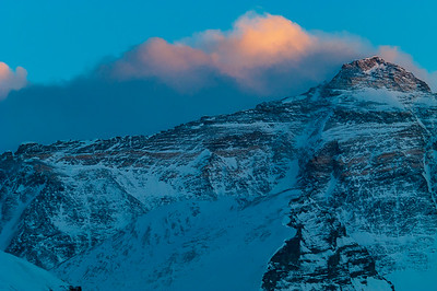 The upper North Face of Mount Everest, showing the Northeast Ridge from the Pinnacles to the summit, at sunset from Rongbuk Basecamp, Tibet.
