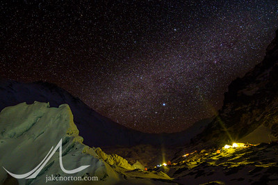 Stars and a bit of the Milky Way above Advanced Basecamp on Mount Everest, Tibet.