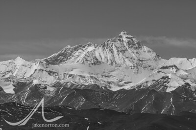 The dramatic North Face of Mount Everest as seen from the Pang La Pass, Tibet.
