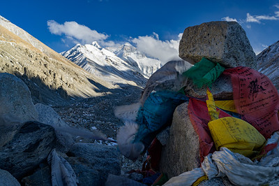 Khatas adorn memorial cairns atop Memorial Hill outside of Rongbuk Basecamp in honor of the climbers who have died on Mount Everest.