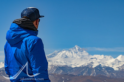 Sid Pattison gazes out at the North Face of Mount Everest from the Pang La Pass, Tibet.