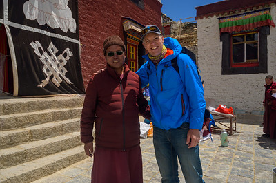 Jake Norton meeting with an old friend, Norbu, the Abbot of Rongbuk Monastery, Tibet.
