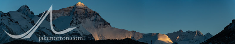 Panorama of the North Face of Mount Everest at sunset from Rongbuk Basecamp, Tibet.