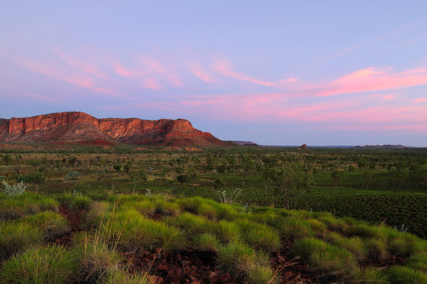 Kungkalahayi Lookout - Spring time looking over the sunset at the western escarpment of the Bungle Bungle massif in Purnululu National Park, Western Australia, Australia.