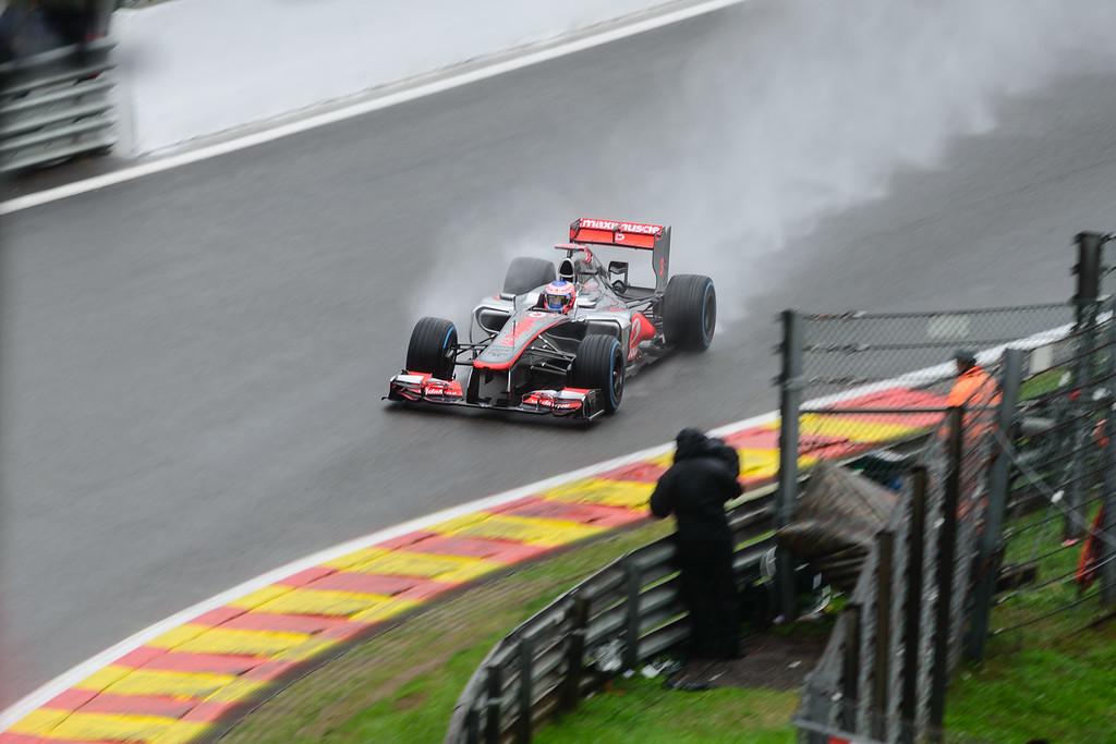 Practice One - Jenson Button - Car 3 - MP4-27 - Full Wet Tyres - Vodafone Mclaren Mercedes