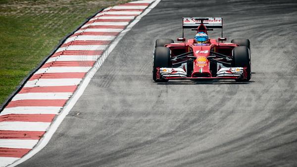 Practice Two - Fernando Alonso - Car 14 - F14 T - Medium Tyres - Scuderia Ferrari