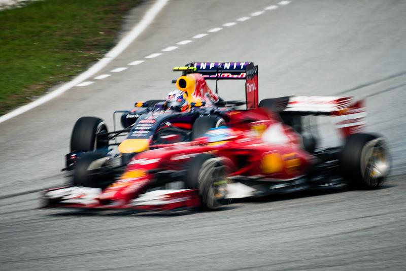 Race - Fernando Alonso (Car 14 - F14 T - Scuderia Ferrari) & Daniel Ricciardo (Car 3 - RB10 - Infiniti Red Bull Racing)