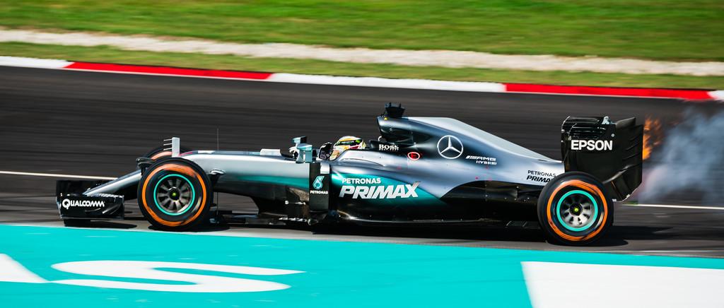 when Hamilton's engine caught fire...
