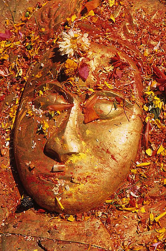 Vishnu / Offerings cover the face of Vishnu  / Kathmandu, Nepal