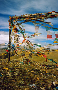 Prayer Flags over the Lalung La / Lalung La Pass, Tsang, Tibet