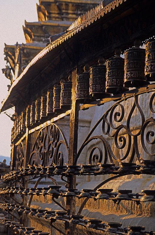Prayer Wheels and Butter Lamps / Surrounding the Buddhist Stupa at Swayambunath / Swayambunath, Kathmandu, Nepal