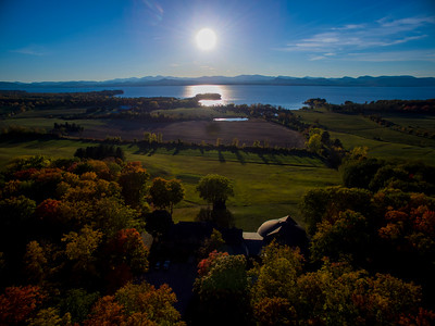 Sunset over Lake Champlain & The Adirondacks from All Souls Interfaith Gathering in Shelburne, Vermont. October 14, 2016