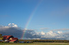 Rainbow over red barn near Collingwood