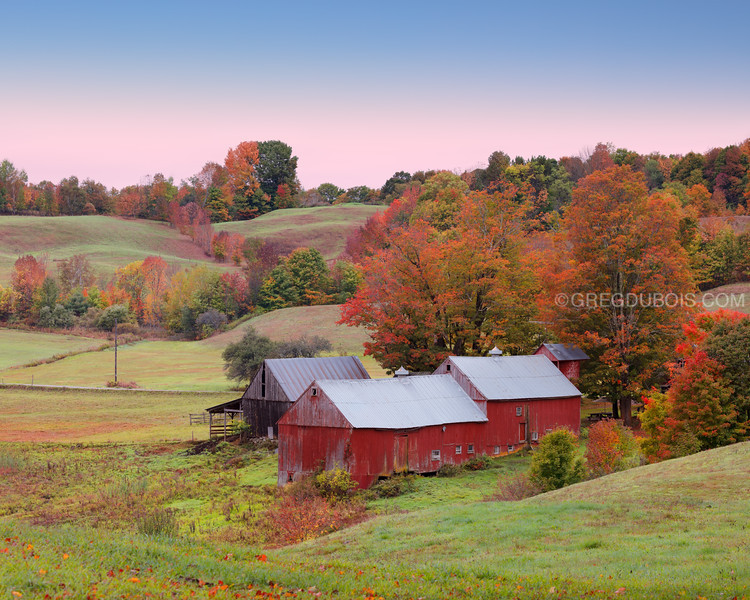Jenne Farm in Reading Vermont with Fall Colors and Frost at Dawn