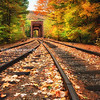 Train Trestle and Fall Foliage in White Mountains New Hampshire (Three)