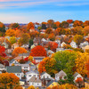 Pastel Sunset over Boston Suburbs and Fall Trees in Everett Massachusetts